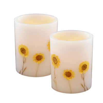 Sun Flower Stickers Flameless LED Candle for Decoration