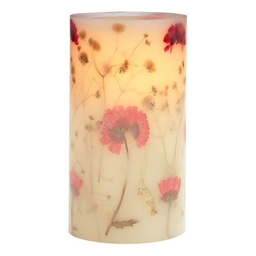 Flower Stickers Flameless LED Candle for Gift and Home Decoration