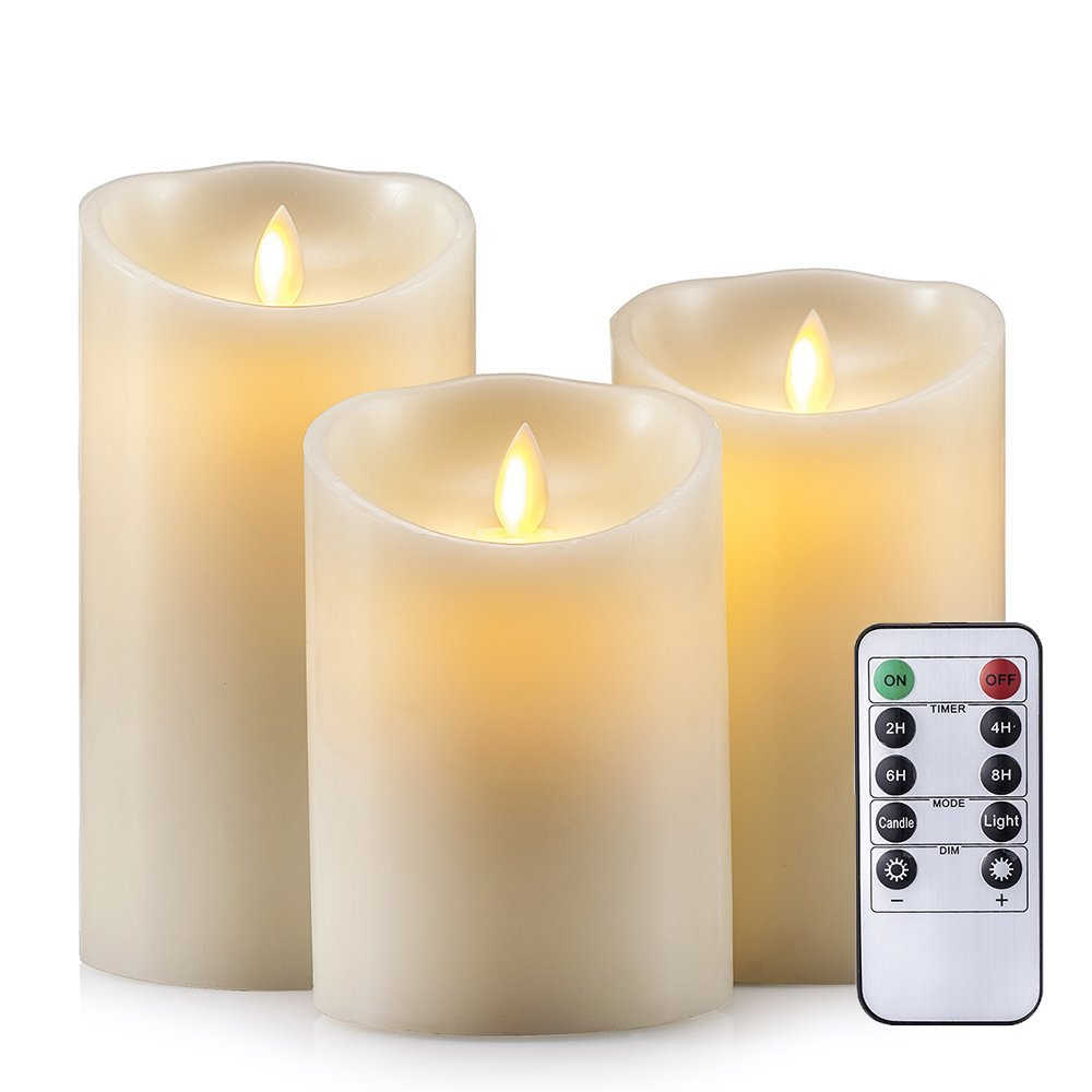 Set of 3 Dancing Flameless LED Candle with 10-Key Remote and 4/8H Timer