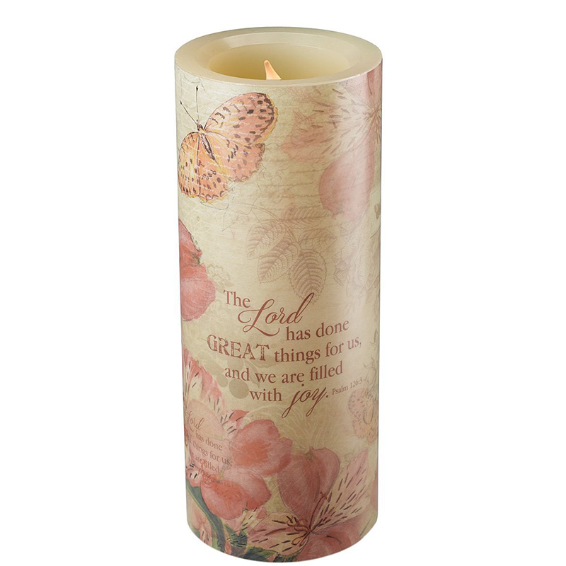 Pink Stickers Flameless LED Candle for Wedding or Gift