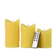 Yellow Tear Waved Pillar Flameless Candle with Remote and Timer