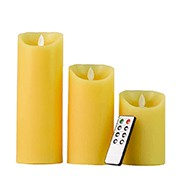 The 3 Set of Ivory Swing Pillar Flameless Candle with Remote Control and Timer